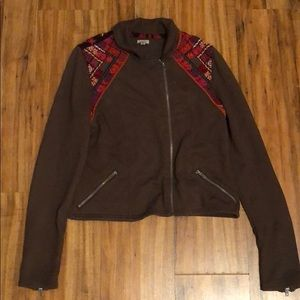 Brown embroidered jacket